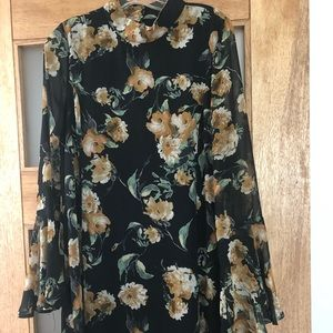 Black floral mock-neck mini dress w/ bell sleeves